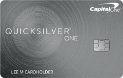 Capital One QuicksilverOne Cash Rewards Credit Card image.